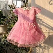 new 2015 baby girl summer dress baby girl flower dress newborn toddler one year old birthday dress baby little girl pink dress (China (Mainland))