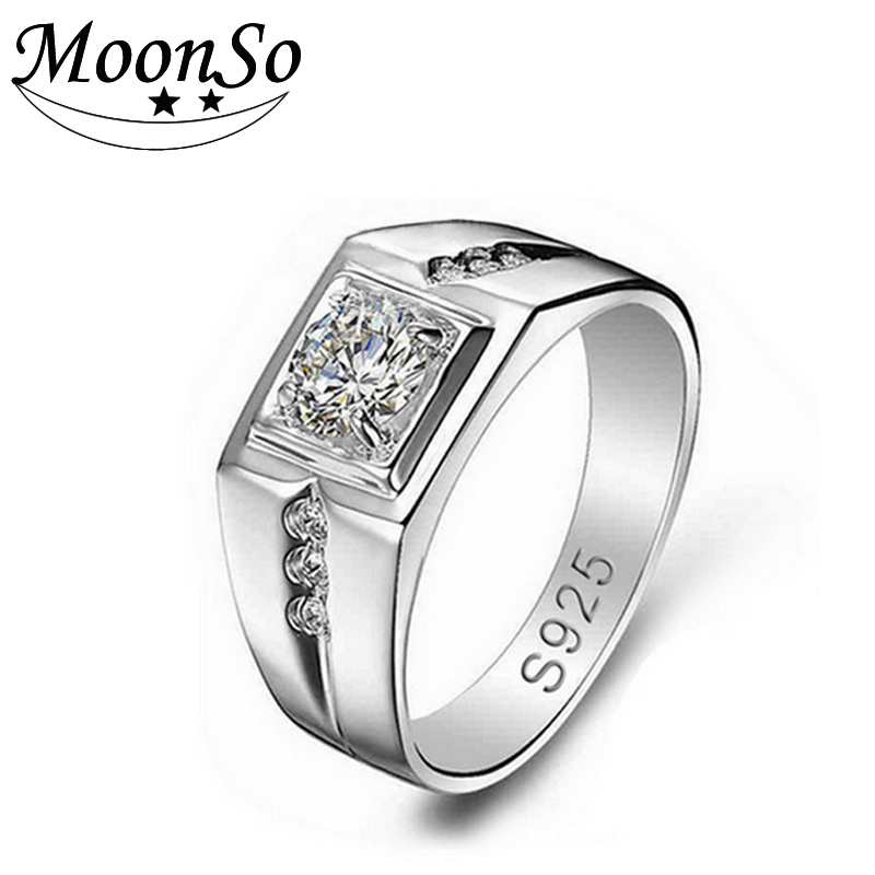 moonso 925 real sterling silver rings for wedding cz