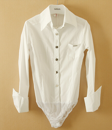 Women'S White Blouse Bodysuit 93