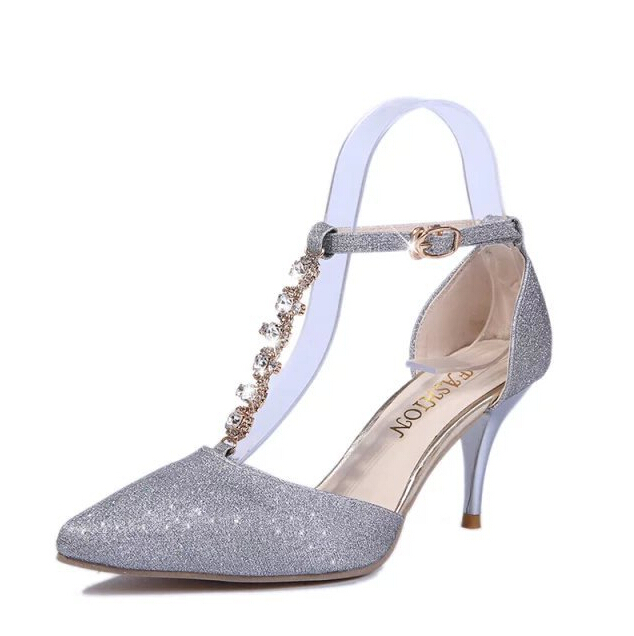 2015 spring new fine suede leather shoes with high heels shallow mouth metal buckle shoes career woman w510<br><br>Aliexpress