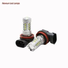 2PCS 12V 24V 80W High Power H8 H9 H11 Led Replacement Fog Lamp Bulbs 360 Degree Lighting 6000K Xenon White Tail Brake Light