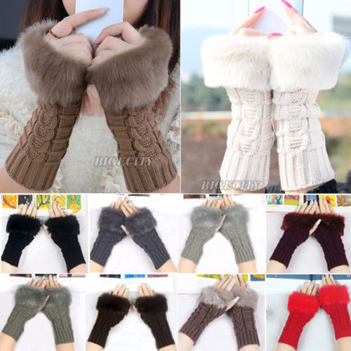 Fashion New Ladies Knitted Fingerless Winter Thermal Warm Hand Warmer Faux Rabbit Fur Mittens Luvas Gloves 10 Colors Q1 - FashionShop321 store
