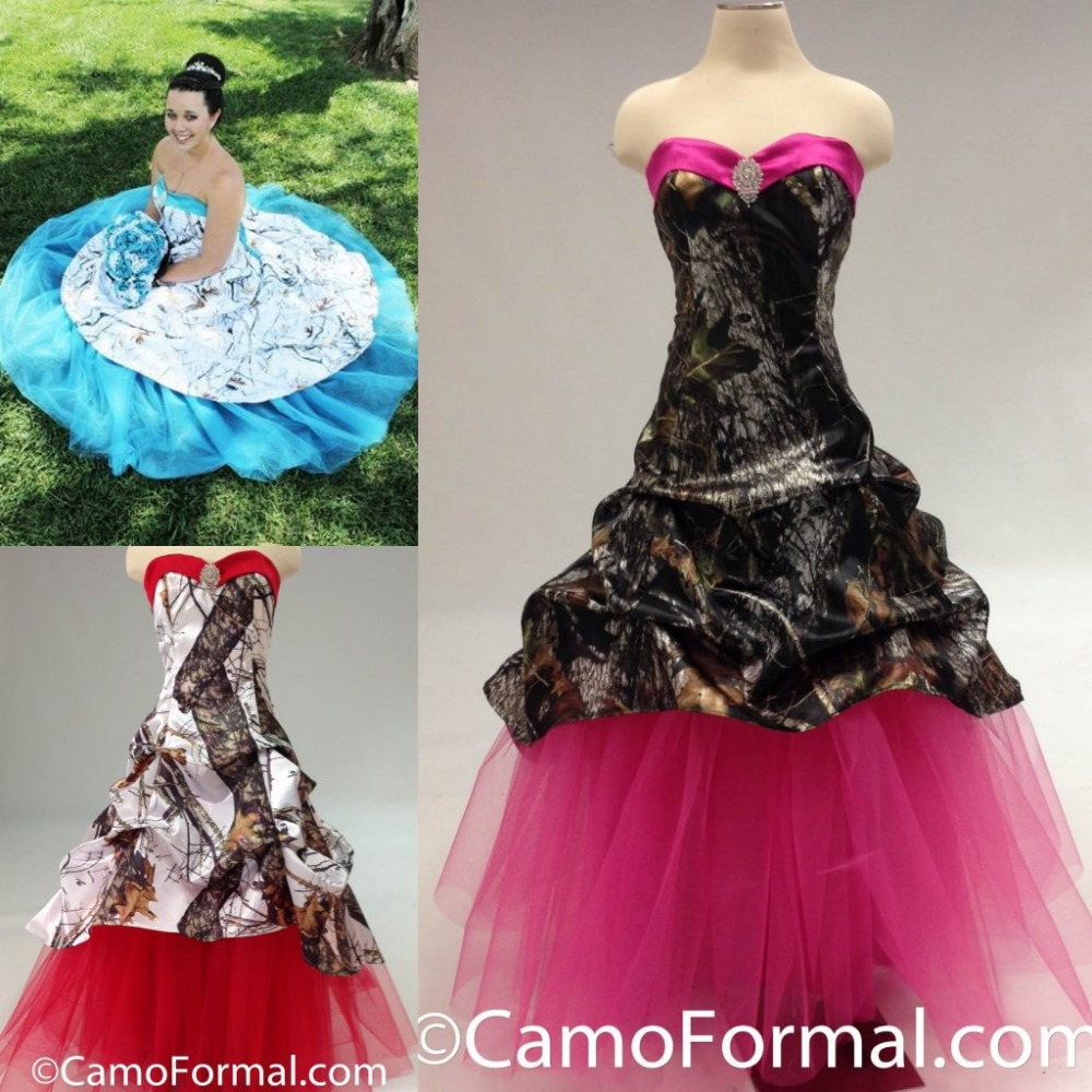 colorful red blue pink camo wedding dress 2015 hot sale