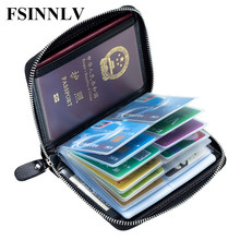Buy FSINNLV Genuine Leather Unisex ID Card Holder Passport Card Wallet Credit Card Business Card Holder Protector Organizer DC223 for $13.59 in AliExpress store