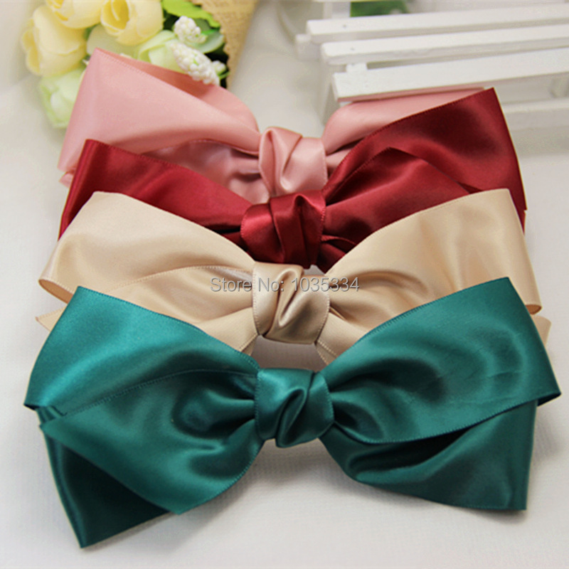 Fashion Women Multicolor Satin Nice Ribbon Bow elastic hairband Hair Accessories Band Rope Scrunchie Ponytail Holder(China (Mainland))