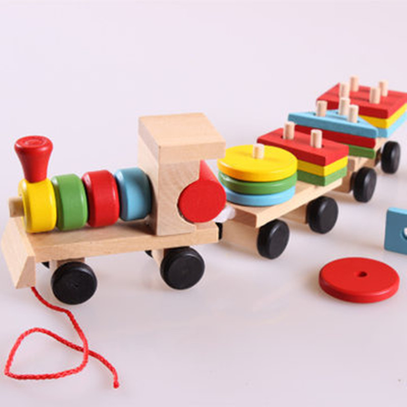 Small Wooden Train And Dragging Three Carriage Geometric Shape Matching Early Childhood Educational Diecasts Toy Vehicles C0A408(China (Mainland))