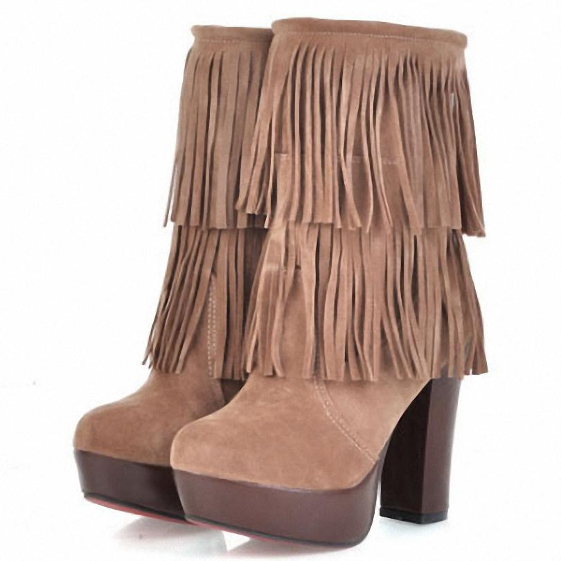 High-heeled fringed boots for women Mid-Calf Square heel Fashion Boots 11.5cm bigsize 34-43 snow new autumn winter Boots<br><br>Aliexpress