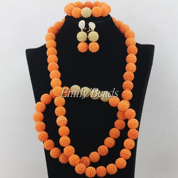 2015 Elegant African Costume Jewellry Set 48 inches Necklace Nigerian Wedding Bridal Beads Jewelry Set Free Shipping AIJ147