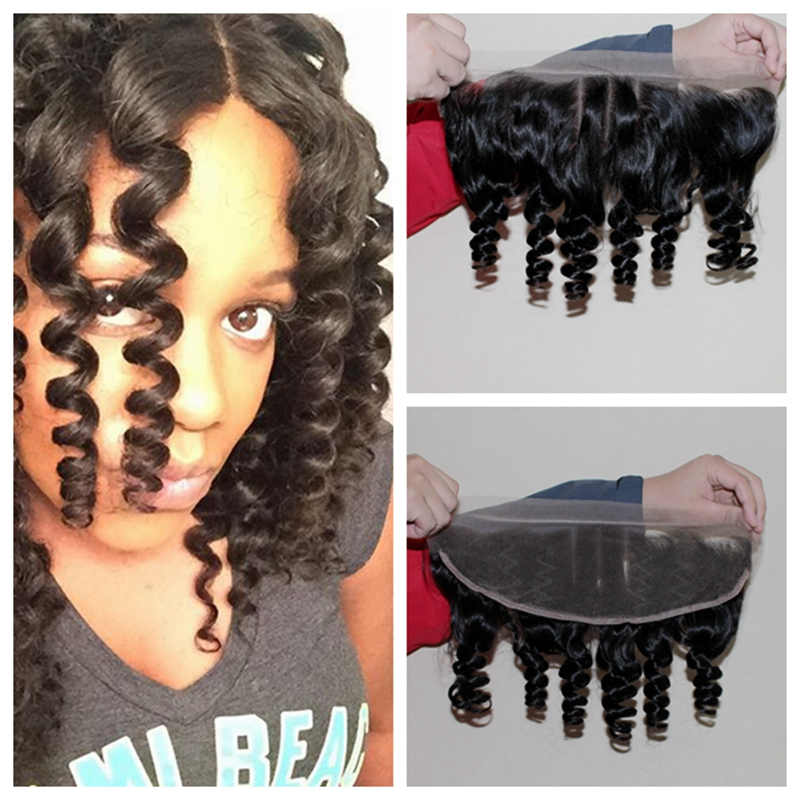 Virgin Brazilian Ear To Ear Full Lace Frontal Closure With Baby Hair Human Bouncy Aunty Funmi Curl Hair 13x4 Bleached Knots<br><br>Aliexpress