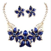 2016 New Jewelry Set Necklace Earrings Woman Lady Party Oil Drop Flower Joker Romantic Beautiful Amazing(China (Mainland))