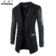 PUNKOOL 2016 Spring Winter Woolen Mens Trench Coat Leather Sleeves Open Stitch Slim Fit Brand Jacket Overcoat Male Free Shipping(China (Mainland))