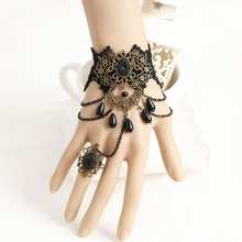 Handmade Beads Drop Cutout Floral Stone Layered Chain Black Lace Bracelet  Adjustable Ring Slave Set Wristband Gothic Retro Ball