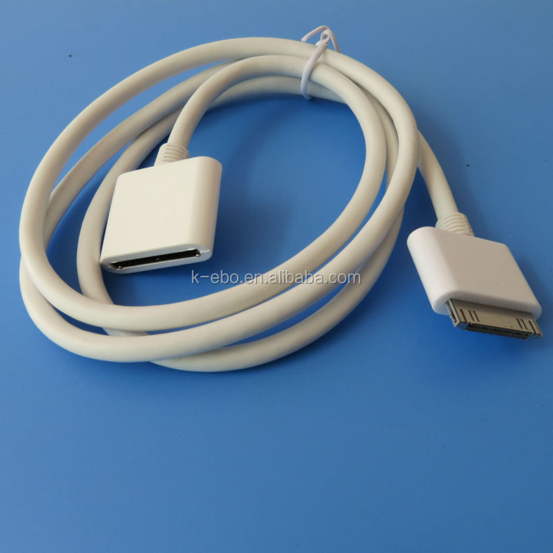 5pcs 1meter 30PIN Dock Cradle Extender AV Extension Cable For iPad iPod iPhone Free Shipping(China (Mainland))