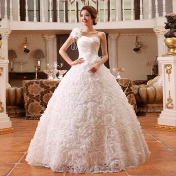 2015 новый невеста плечевой ремень свадебное платье одно плечо блестка повязку шнуровка свадебное платье бальное платье vestido де noiva A165