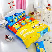 Hot!Cotton Bedding Set Cartoon Printing Minions Mitch Bedclothes for Baby Children Kid Bed Linen Twin Full Queen Duvet Cover Set(China (Mainland))