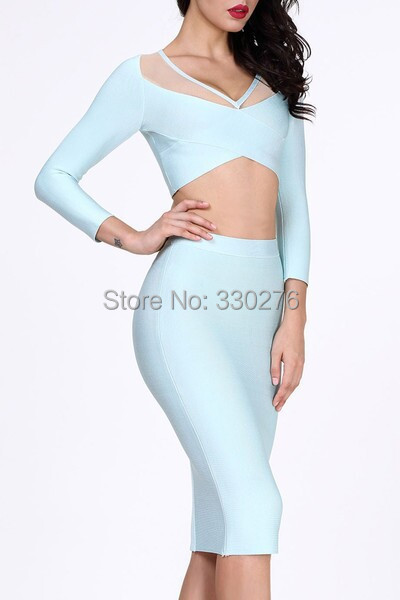 7 Colors Celebrity Evening Red Long Sleeve 2 Pieces Bandage Dress Party Bodycon - Monopoly HL bandage dress Guangzhou store