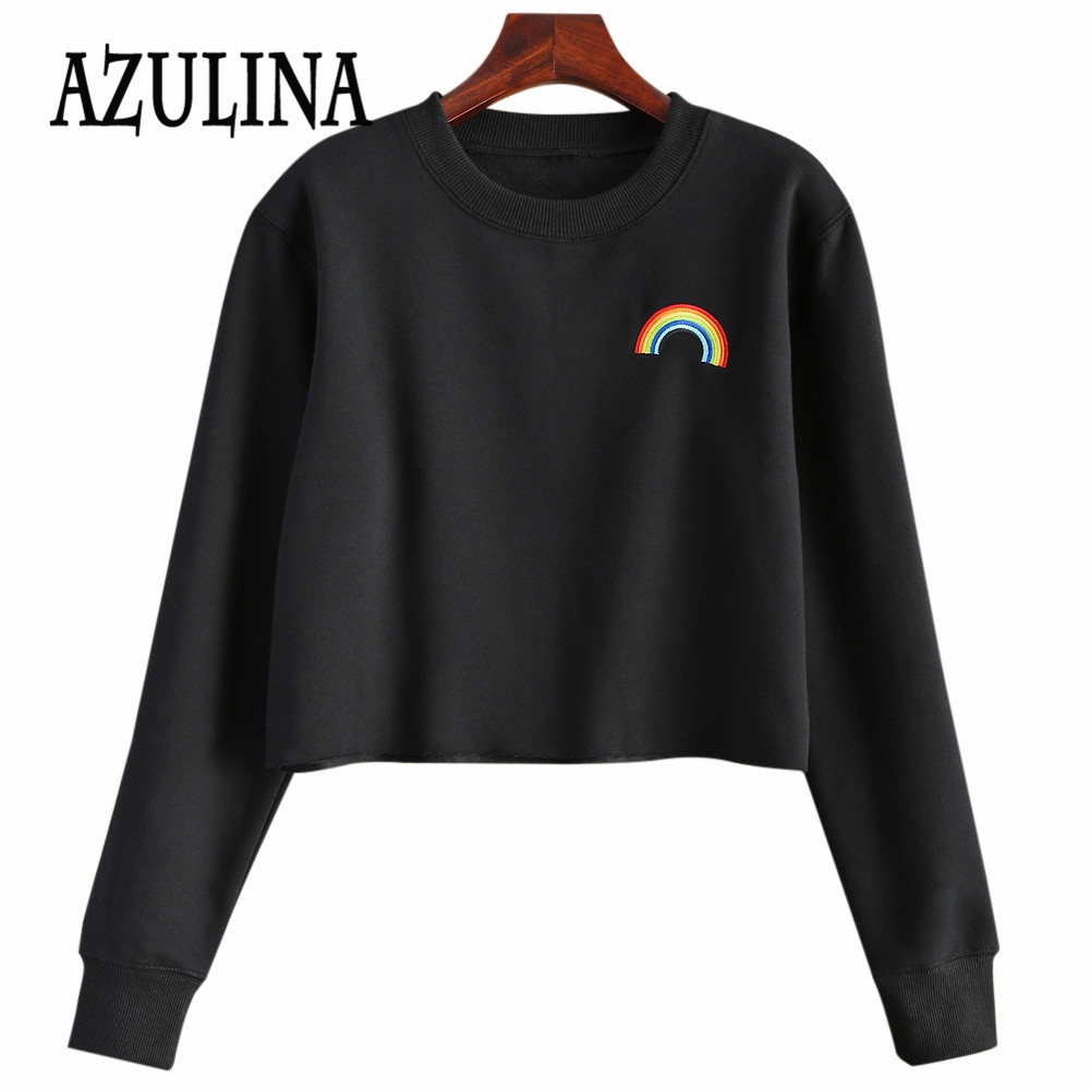 AZULINA Women Raw Edge Rainbow Cropped Long Sleeved Women T-Shirt 2016 New Autumn Short Tee Crop Top Pullover Cotton Tracksuits(China (Mainland))