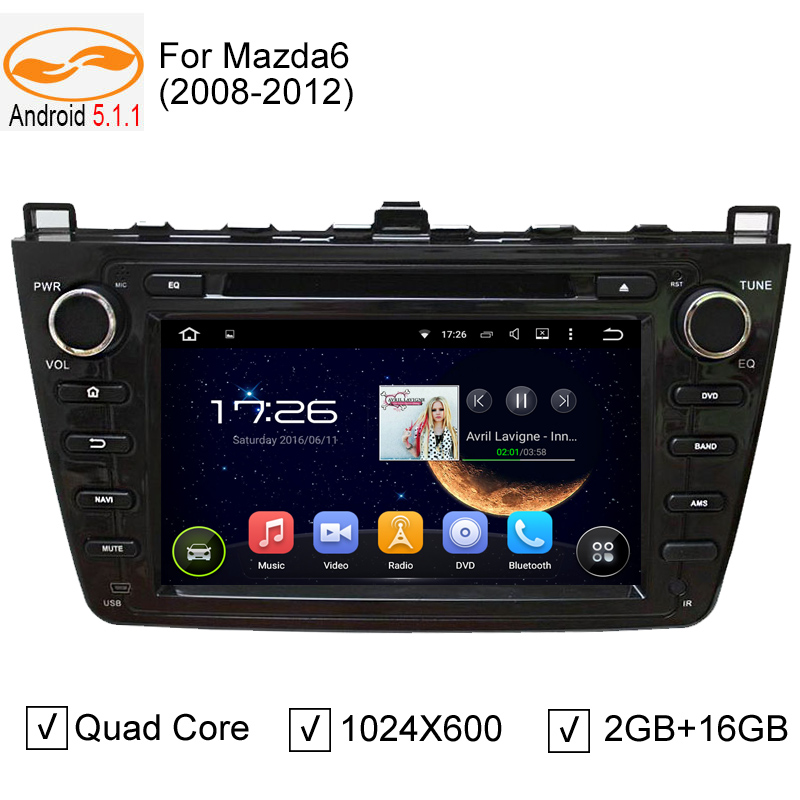 "8"" Quad Core Android 5.1.1 Car DVD Player 2 Din for Mazda 6 2008-2012 GPS Navigation WiFi Stereo Audio Radio BT Black Panel(China (Mainland))"