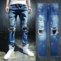 Fashion 2015 new ripped skinny jeans mens personality rock style jean pant slim skinny pants distressed calca jeans