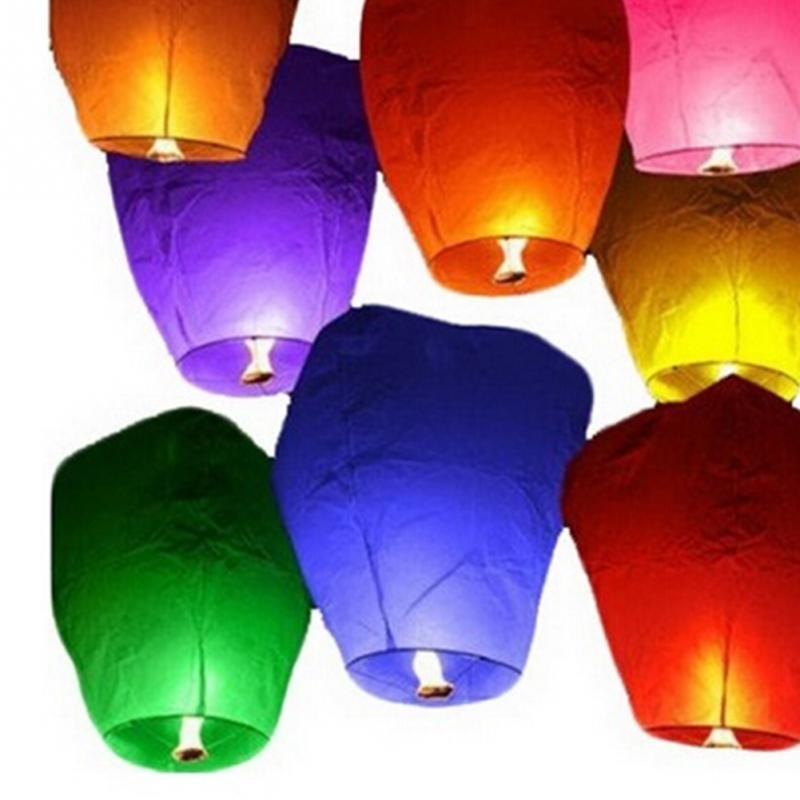 New 5Pcs/Set Wishing Lamp Round Paper Chinese Lanterns Flying Paper Sky Lanterns For Festive Events Celebration Blessing(China (Mainland))