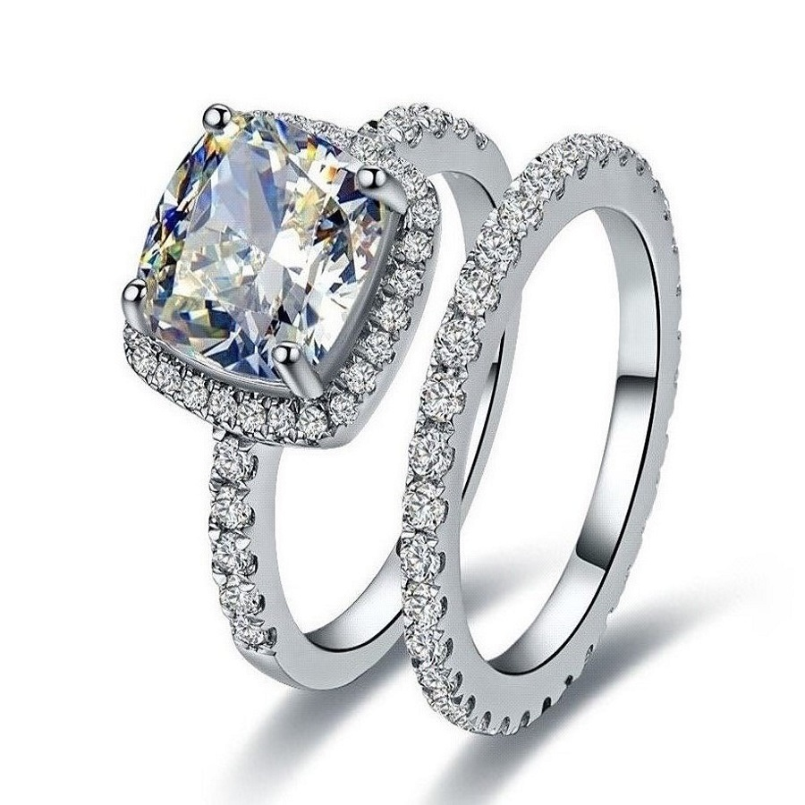 2ct excellent cushion nscd synthetic diamond engagement With synthetic diamond wedding rings