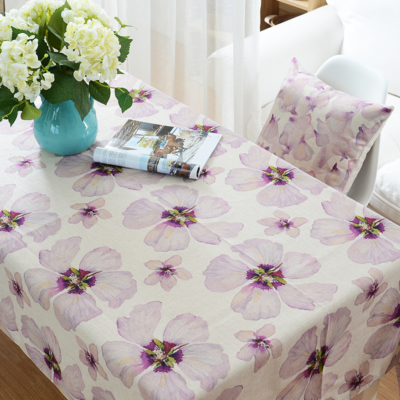 D Fashion summer watercolor flowers flower rural and simple table cloths table linens customized size(China (Mainland))