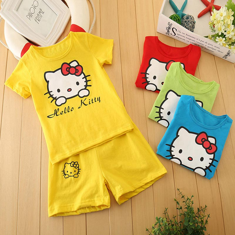SK,Size 2T-6T Unisex 100% Cotton Brand Children Boys Clothing Sets 2016 Hello kitty Kids Clothes Summer Boys Girls Suits(China (Mainland))