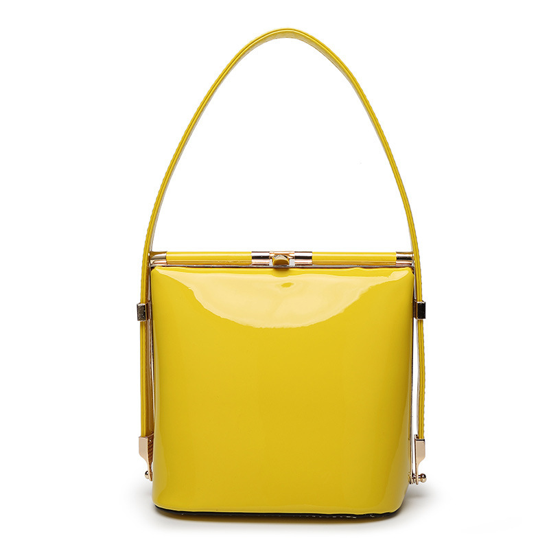 Bright patent leather bridesmaid purse,frame bucket type women evening bag,good quality lady handbag,small yellow wedding bags(China (Mainland))