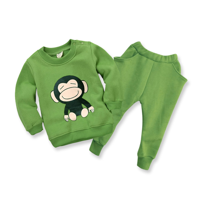 2015 Children Babys Clothing Sets Kids Store Cute Carton Pattern Thickening Fleece Baby Sets Wholesale Baby Shops(China (Mainland))