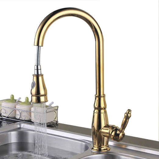 copper sink gold single lever kitchen faucet pull out bar