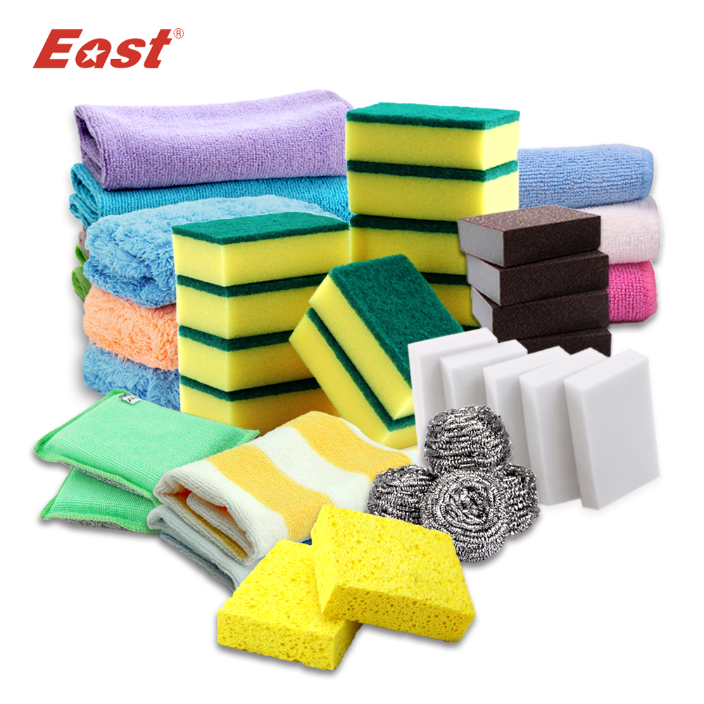 East High Quality Kitchen Cleaning Set Washing Towel Wiping Rags Sponge Scouring Pad Microfiber Dish Cleaning Cloth(China (Mainland))
