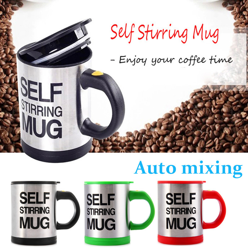 Hot Selling Self Stirring 400ml Automatic Electric Coffee Cup Smart Stainless steel Mugs Perfect Souveni on kitchen dining bar(China (Mainland))