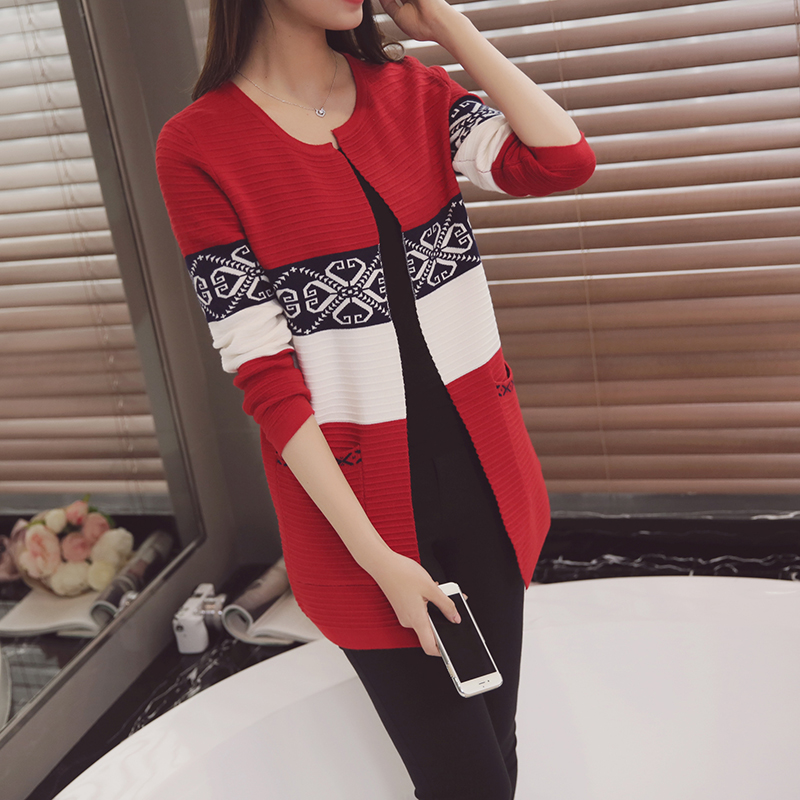 Women Vintage Print Sweaters Autumn Outfit Knitwear New Long Cardigan Sweater Restoring Ancient Ways Long Sleeve Coat O Neck(China (Mainland))