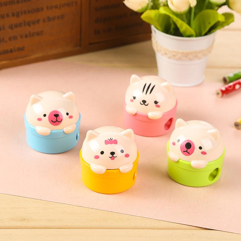 New Cute Kawaii Cartoon Cat Plastic Pencil Sharpener For Kids Student Novelty Item School Material Free Shipping 1704(China (Mainland))