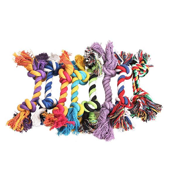 Случайный Цвет Мода Смазливая Пастель Узел Хлопок Веревка Кость Chew Буксир Игрушка Для Домашних Собак Doggy E2shopping (случайный Цвет)