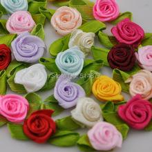 50 pcs fita de cetim rosa w / folha apliques vitoriana / guarnição / artesanato / vestido / flor frete grátis B63