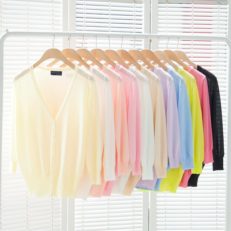 Women's sweater three quarter sleeve thin cardigan short design slim sun protection clothing cape coat(China (Mainland))