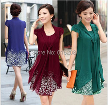 Hot Summer dress new fashion women's high quality pretty casual plus size M--5XL knee length chiffon dress print dress(China (Mainland))