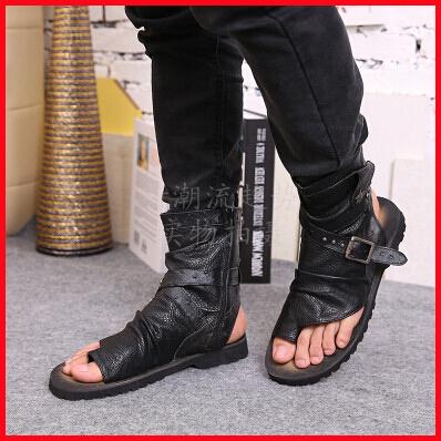 2015 Summer New Designer Men Genuine Leather sandals,fashion ankle wrap flip flops,Cool Gladiator sandals,mens flats.<br><br>Aliexpress