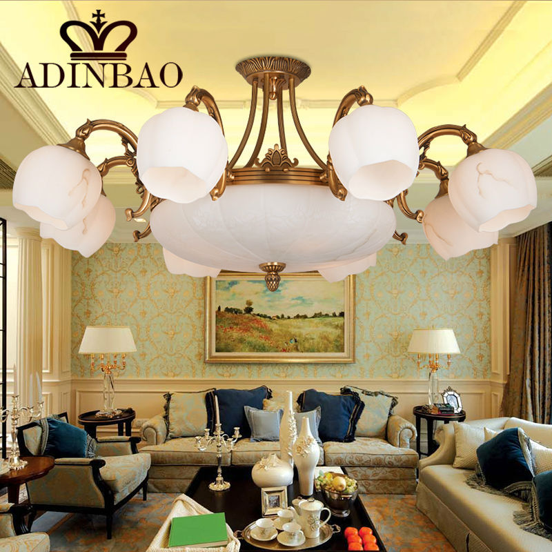 America classic Copper & colored glass Chandelier(China (Mainland))