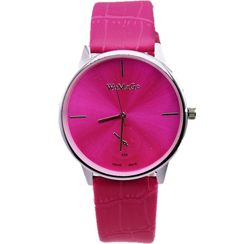 Здесь можно купить  hot sale womage brand women fashion casual simple dial 11 colors quartz movement men business leather watch  Ювелирные изделия и часы