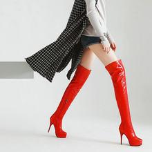 Moda Patent Deri Diz Çizmeler üzerinde Kadın Platformu Fermuar Çizmeler Seksi Ince Yüksek Topuk Uyluk Çizmeler Sonbahar Kış Kadın ayakkabı(China)