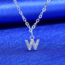 Anenjery ins Completa Zircone A ~ Z 26 Inglese Lettere Pendenti con gemme e perle Collane Per Le Donne 925 Sterling Silver Collane A Catena S-N364(China)