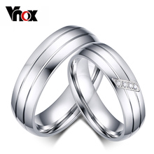 Buy Vnox Fashion Wedding Rings Stainless Steel Ring Female Male Promise Ring Cubic Zirconia Couple Jewelry Sales Promotion for $2.87 in AliExpress store