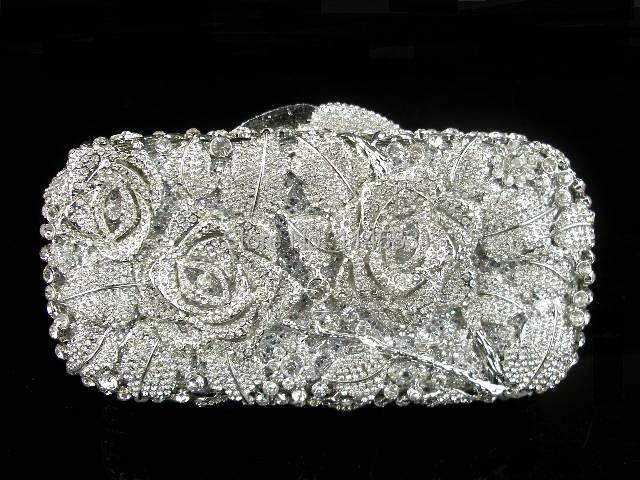 #8126 Crystal Flower Floral Bridal Party Silver Metal Evening purse clutch bag box handbag case