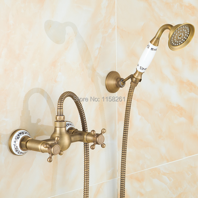 Free Shipping Antique Bathroom Single Handle Wall Mounted Bathtub Shower Set Mixer Set Faucet Tap Bathroom Shower 6758Q(China (Mainland))