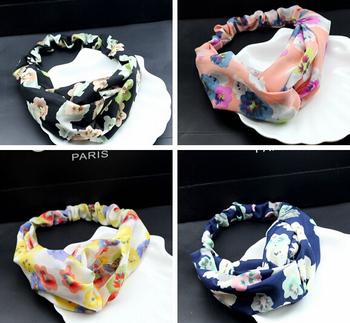 50pcs/lot Free Shipping Fashion Soft Chiffon Flower Printed Cross Knot Elastic Hairwrap Headwrap Wholesales