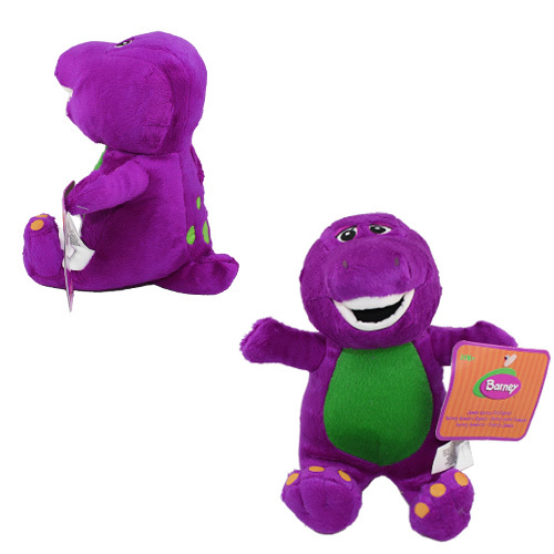FREE SHIPPING Anime Cartoon Cute ! Talking Singing Barney Dinosaur 17cm Soft Plush Doll Toy with Music(China (Mainland))