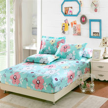 100% cotton fitted sheet twin double full queen king size Mattress cover pure cotton bed sheet with elastic white flower bedding(China)