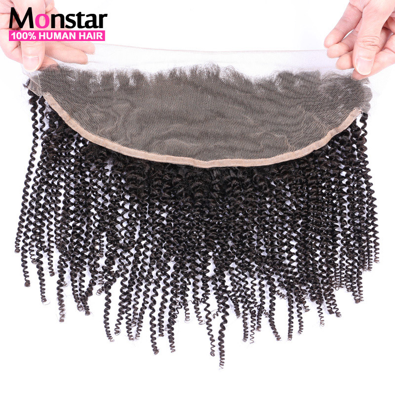 Brazilian Afro Kinky Curly Lace Frontal Closure 13x4 Frontal With Baby Hair Double Knots Human Hair Closure Natural Hair Line(China (Mainland))